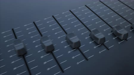 mínimo : Multiple sliding faders on a panel with power inscription. Conceptual 4K clip