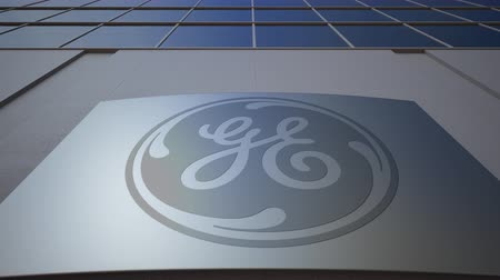 general electric : Outdoor signage board with General Electric logo. Modern office building. Editorial 3D rendering