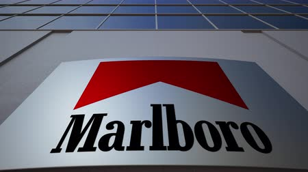 richmond : Outdoor signage board with Marlboro logo. Modern office building. Editorial 3D rendering Stock Footage