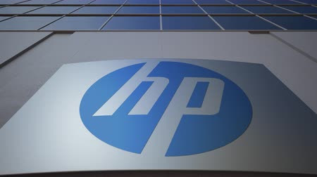 chipset : Outdoor signage board with HP Inc. logo. Modern office building. Editorial 3D rendering