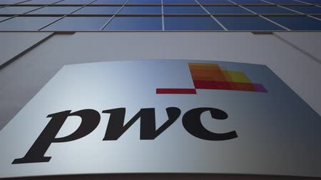 pwc : Outdoor signage board with PricewaterhouseCoopers PwC logo. Modern office building. Editorial 3D rendering
