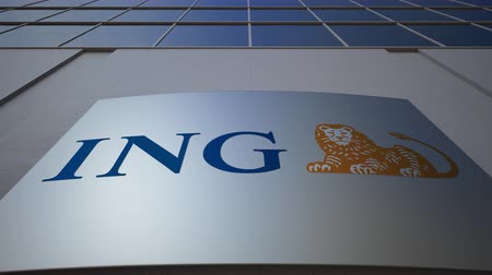 ing : Outdoor signage board with ING Group logo. Modern office building. Editorial 3D rendering