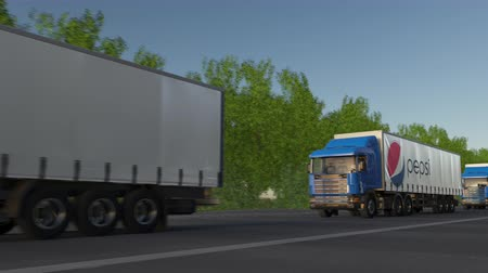 pepsico : Freight semi trucks with Pepsi logo driving along forest road, seamless loop.