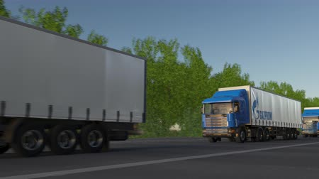 gazprom : Freight semi trucks with Gazprom logo driving along forest road, seamless loop. Stock Footage