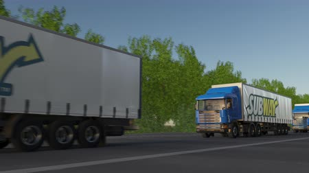 franczyza : Freight semi trucks with Subway logo driving along forest road, seamless loop. Wideo