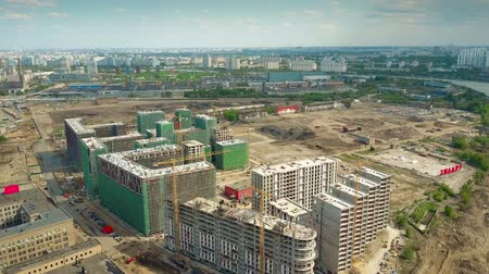 architecture and urbanism : MOSCOW, RUSSIA - MAY, 24, 2017. Aerial shot of apartment houses Zilart construction site.