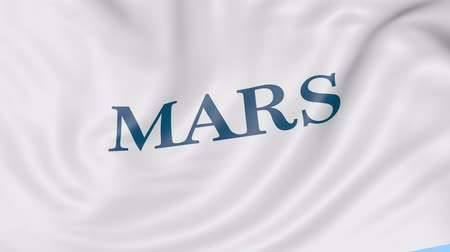 incorporated : Waving flag with Mars Incorporated logo. Seamless loop editorial animation