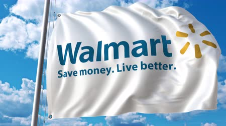 walmart : Waving flag with Walmart logo against moving clouds. 4K editorial animation