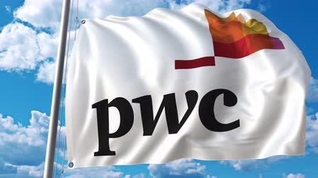pwc : Waving flag with PwC logo against moving clouds. 4K editorial animation