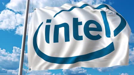 intel : Waving flag with Intel logo against moving clouds. 4K editorial animation
