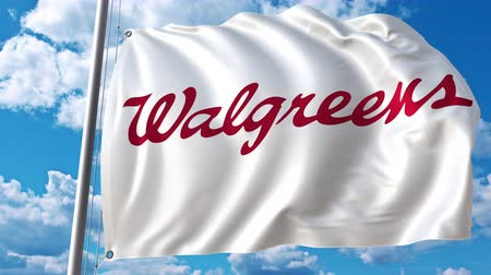 eixo : Waving flag with Walgreens logo against moving clouds. 4K editorial animation Stock Footage