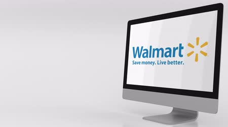 walmart : Modern computer screen with Walmart logo. 4K editorial clip