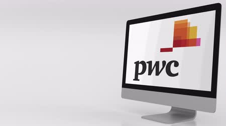 pwc : Modern computer screen with PwC logo. 4K editorial clip Stock Footage