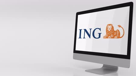 ing : Modern computer screen with ING logo. 4K editorial clip