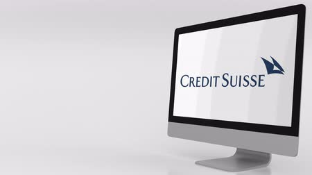 credit suisse : Modern computer screen with Credit Suisse logo. 4K editorial clip