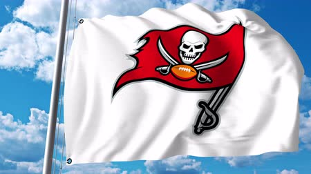 tampa bay : Waving flag with Tampa Bay Buccaneers professional team logo. 4K editorial clip