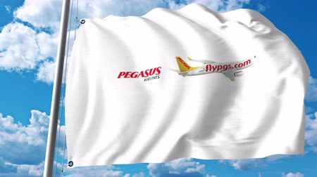 pegaz : Waving flag with Pegasus Airlines logo. 4K editorial clip