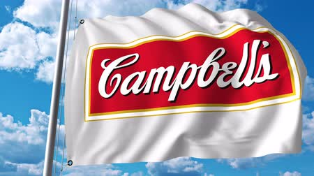 campbell : Waving flag with Campbell Soup Company logo. 4K editorial animation