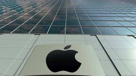 apple headquarter : Signage board with Apple Inc. logo. Modern office building facade time lapse. Editorial 3D rendering