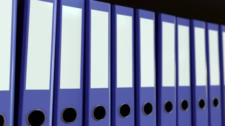 redundancy : Row of violet office binders. Business, paperwork, data storage concepts. Loopable motion background Stock Footage