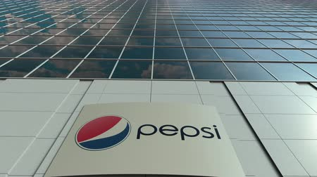 pepsico : Signage board with Pepsi logo. Modern office building facade time lapse. Editorial 3D rendering Stock Footage