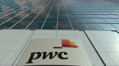 pwc : Signage board with PricewaterhouseCoopers PwC logo. Modern office building facade time lapse. Editorial 3D rendering