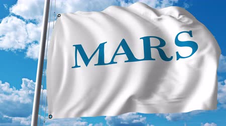 incorporated : Waving flag with Mars Incorporated logo. Stock Footage