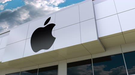 apple headquarter : Apple Inc. logo on the modern building facade. Editorial 3D rendering Stock Footage