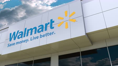 walmart : Walmart logo on the modern building facade. Editorial 3D rendering