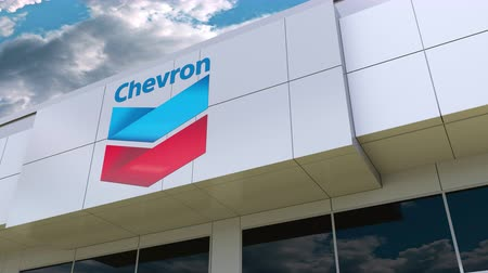 refining : Chevron Corporation logo on the modern building facade. Editorial 3D rendering