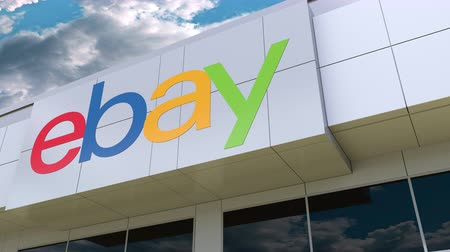ebay : eBay Inc. logo on the modern building facade. Editorial 3D rendering Stock Footage