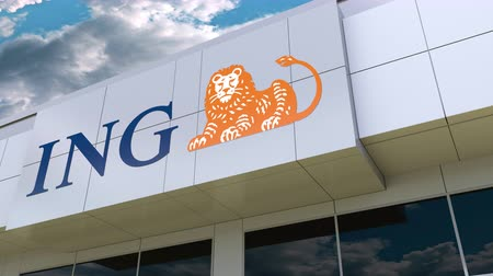 ing : ING Group logo on the modern building facade. Editorial 3D rendering