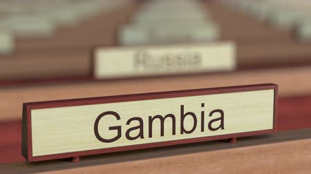 ábrázol : Gambia name sign among different countries plaques at international organization. 3D rendering Stock mozgókép