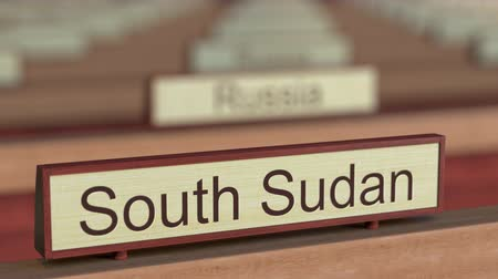 ábrázol : South Sudan name sign among different countries plaques at international organization. 3D rendering Stock mozgókép