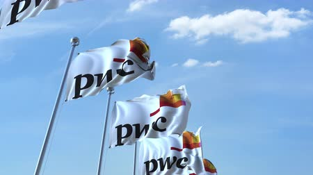 pwc : Waving flags with PwC logo against sky, seamless loop. Stock Footage