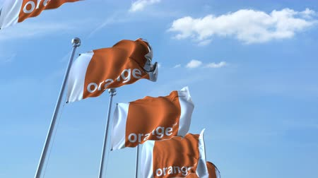 eixo : Waving flags with Orange logo against sky, seamless loop.