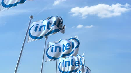 intel : Waving flags with Intel logo against sky, seamless loop. Stock Footage
