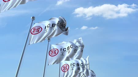 eixo : Waving flags with ICBC logo against sky, seamless loop.