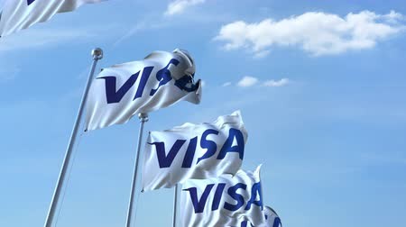eixo : Waving flags with Visa logo against sky, seamless loop.