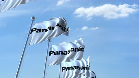 eixo : Waving flags with Panasonic logo against sky, seamless loop.