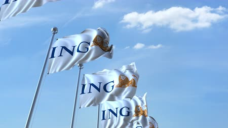 ing : Waving flags with ING logo against sky, seamless loop. Stock mozgókép