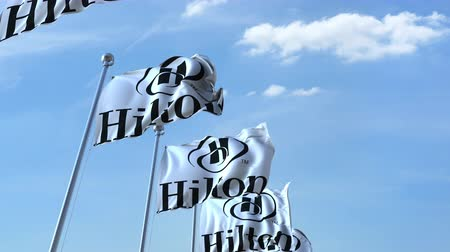 hilton : Waving flags with Hilton logo against sky, seamless loop.