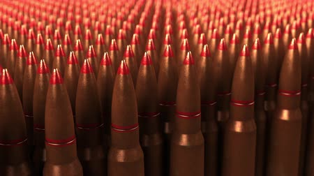 munitions : Big supply of shells or cartridges, seamless loop. War, ammo, aggression concepts