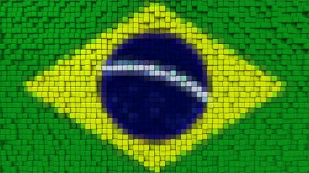 dalgalanan : Stylized mosaic flag of Brazil made of moving pixels, seamless loop motion background