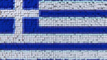 dalgalanan : Stylized mosaic flag of Greece made of moving pixels, seamless loop motion background