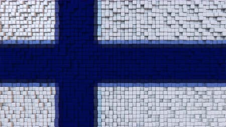 dalgalanan : Stylized mosaic flag of Finland made of moving pixels, seamless loop motion background