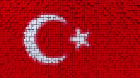 dalgalanan : Stylized mosaic flag of Turkey made of moving pixels, seamless loop motion background Stok Video