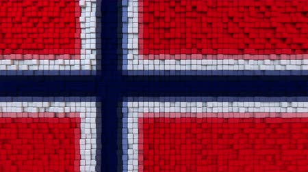 dalgalanan : Stylized mosaic flag of Norway made of moving pixels, seamless loop motion background
