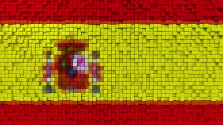 dalgalanan : Stylized mosaic flag of Spain made of moving pixels, seamless loop motion background Stok Video