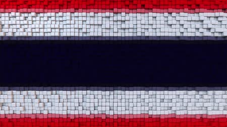 dalgalanan : Stylized mosaic flag of Thailand made of moving pixels, seamless loop motion background